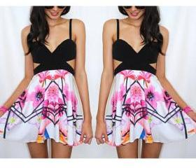 Printing Floral Chiffon Dress