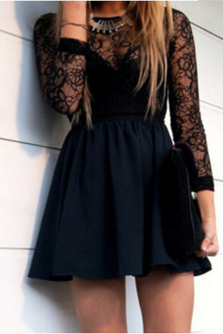 Free Shipping!! Black Lace Hollow Backless Dress #hot