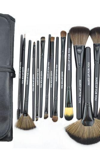 Hot High Quality 24 Pcs/Set Makeup Brush Cosmetic Set Kit Packed In High Quality Leather Case - Black
